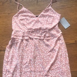 Sweet 19 Cooper mauve w/ cream floral print dress